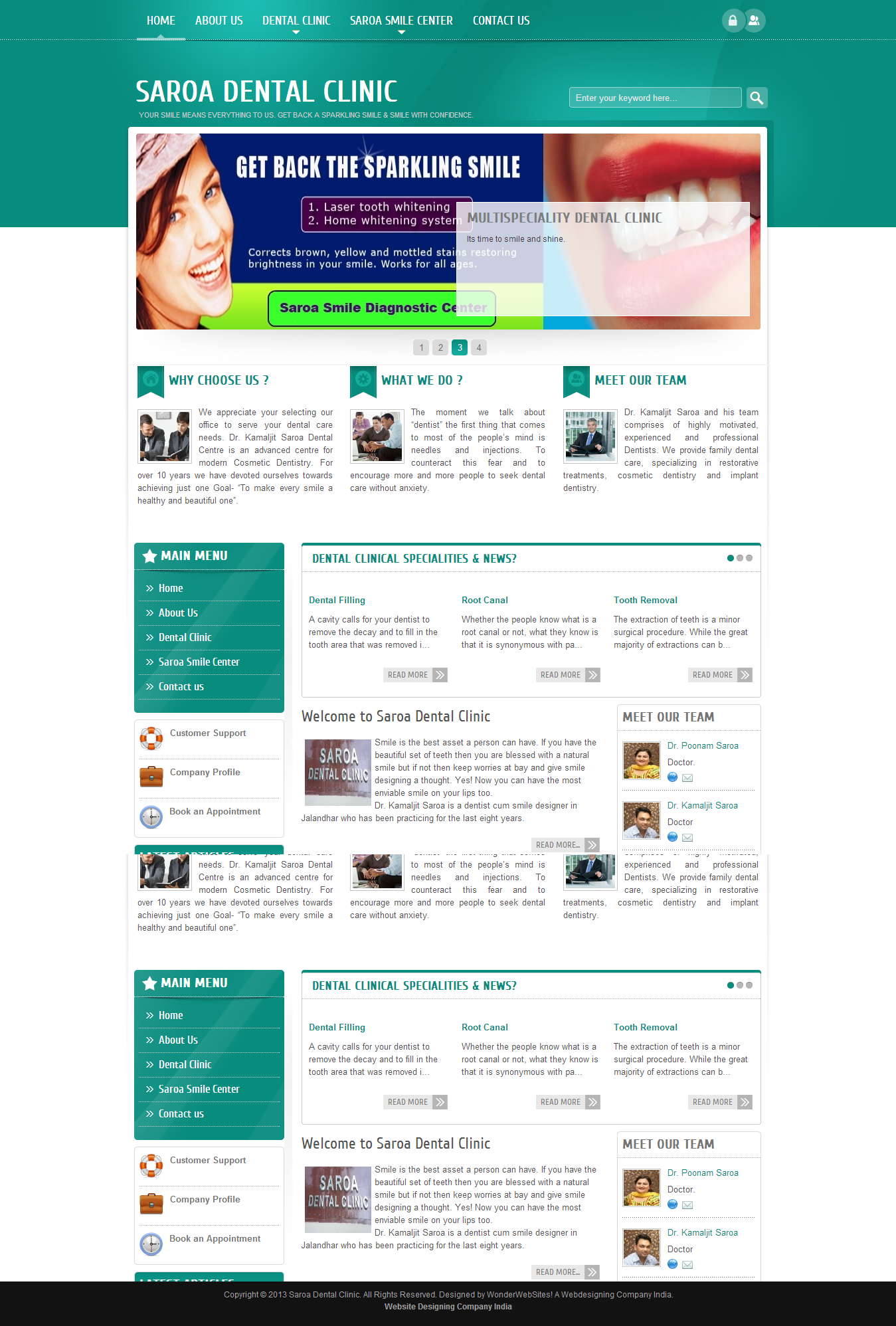 Saroa Dental Clinic Website | Web Design India